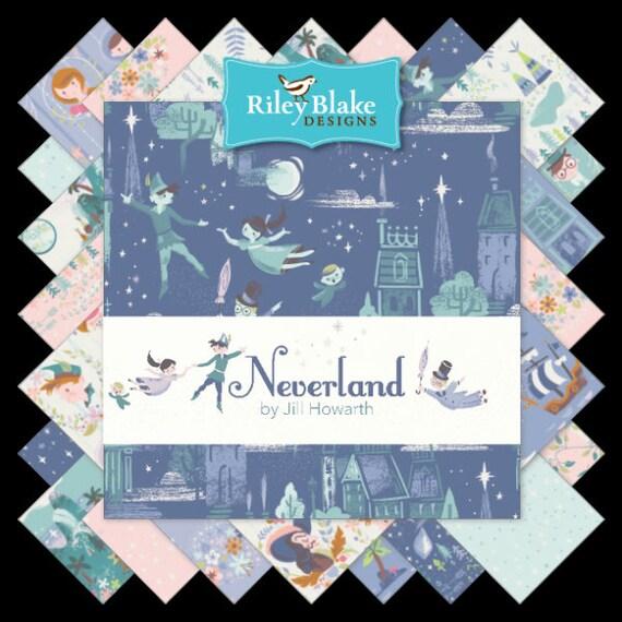 VENTE Neverland Quarter Fat Quarter Neverland lot 18 pièces - Riley Blake Designs - pré découpé prédécoupée - Peter Pan fée clochette - tissu à courtepointe af38bd