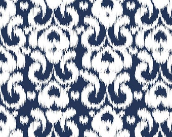 Ikat Navy by Riley Blake Designs - Blue White Damask - Jersey KNIT cotton lycra spandex stretch fabric - choose your cut
