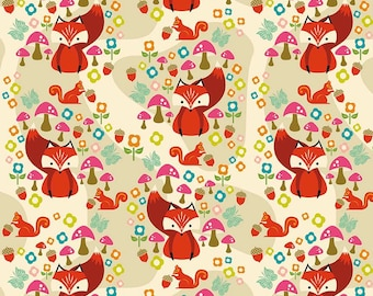 Acorn Valley Main Cream by Riley Blake Designs - Foxes - Jersey KNIT cotton lycra spandex stretch fabric - choose your cut