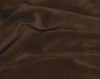 Chocolate Brown Cotton Velour fabric by the yard