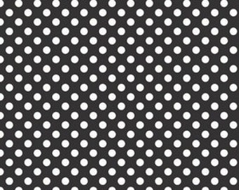Small Dots White on Black by Riley Blake Designs - polka dots - Quilting Cotton Fabric - choose your cut