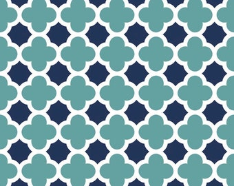 Quatrefoil Teal Navy by Riley Blake Designs - Jersey KNIT cotton lycra spandex stretch fabric - choose your cut