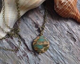 AquaTerra Jasper necklace, beach necklace, minimalist necklace, summer necklace