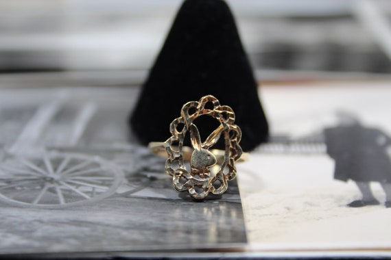 Playboy Diamond Cut 10k Solid Gold Ring and Earrin