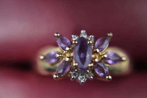 10k Vintage Gold Amethyst and Moissanite Chip Clus