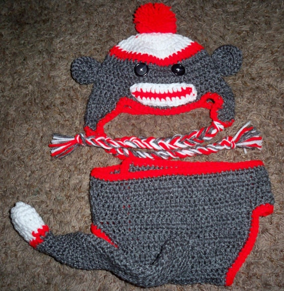 Crochet Sock Monkey Hat And Diaper Cover Pattern Only Etsy