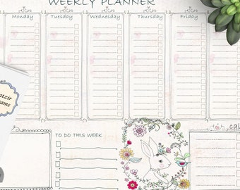 big vintage style weekly planner printable daily scheduleflower bunny instant download to do list printable to do pagestime management