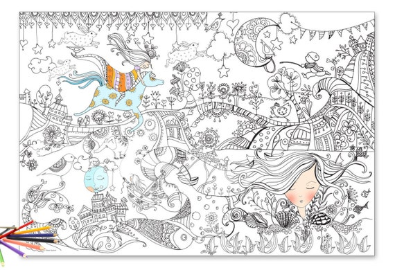 Giant Coloring Coloring Poster Giant Coloring Page Poster Etsy