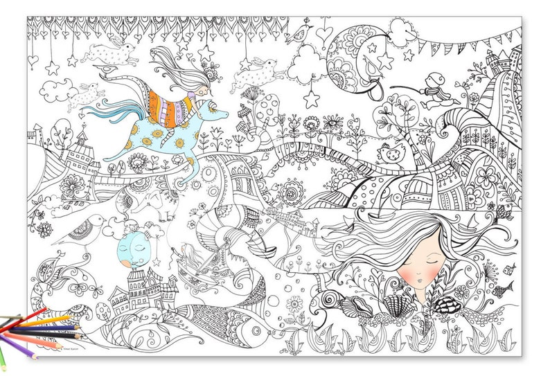 Giant coloring Coloring poster giant coloring page poster | Etsy