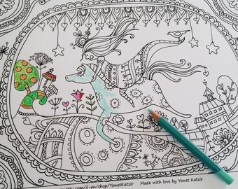 Coloring Poster Grown Up Horse Page Wonderland Pages Color Therapy
