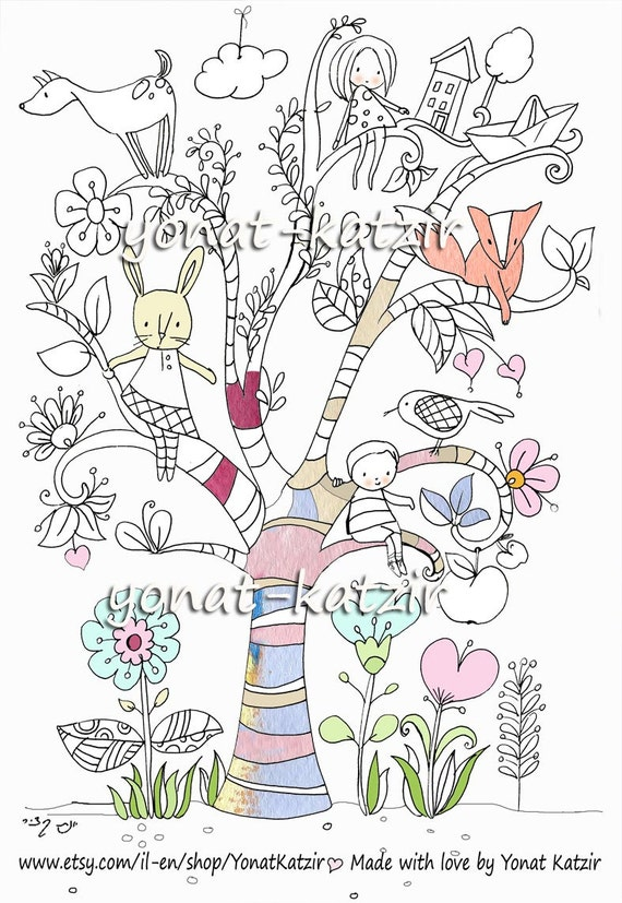 Tree Of Life Poster For Coloring Coloring Page Printable Etsy