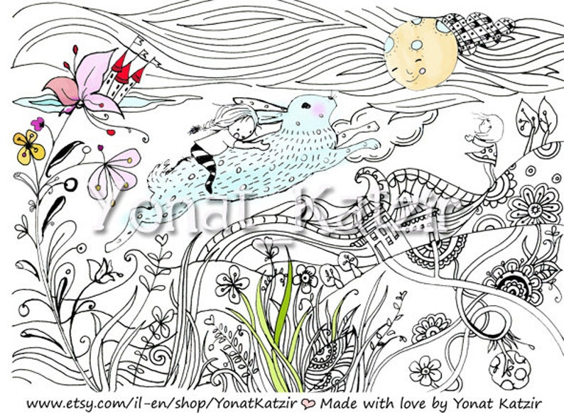 Rabbit coloring bunny coloring page Kids craft activity | Etsy