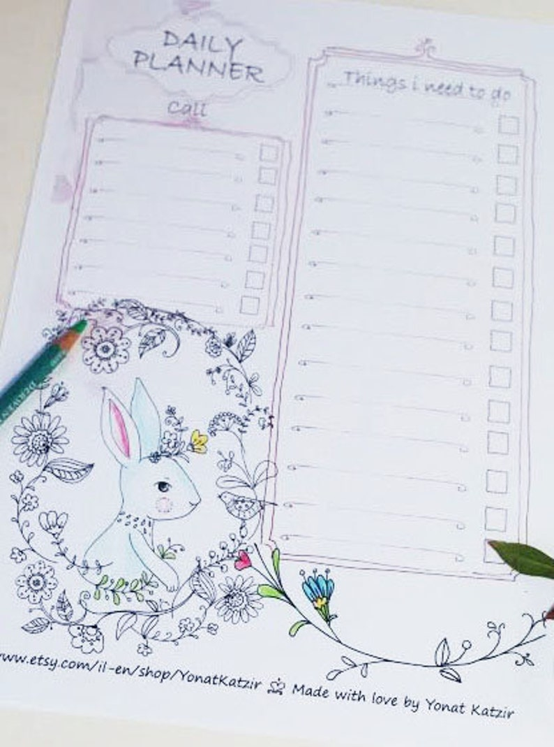 picture about Diy Daily Planner identify A4 each day planner,printable day-to-day application, do-it-yourself each day planner, Printable day by day plan, Planner PDF, floral bunny, coloring internet pages, Toward do listing