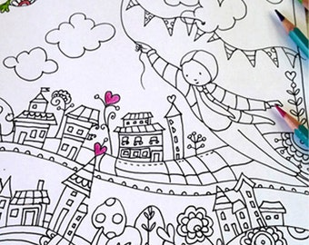 Coloring posters | Etsy