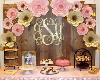 Paper Flower Backdrop Paper Flowers Dessert Table Cake Etsy