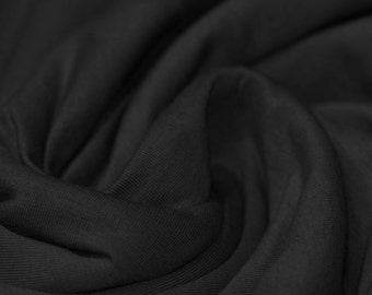 Jet Black - Cotton Lycra Jersey Knit Fabric