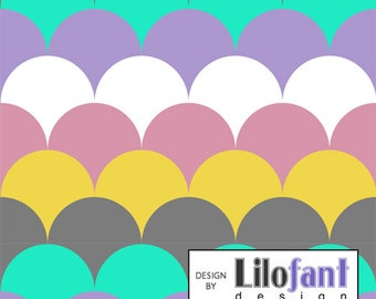 Pastel Hills (scales/feathers) - Lilofant Organic Cotton Lycra Jersey Knit Fabric