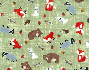Forest Creatures Poplin Print Cotton Fabric