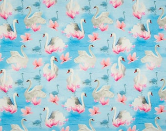 Swans Digital Cotton Lycra Jersey Knit Fabric