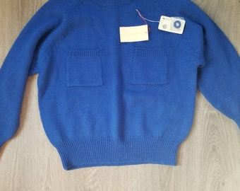 Vintage 1982 Geraldine Peterson Blue Pullover Worsted Wool Sweater One Of A Kind Piece Size Medium