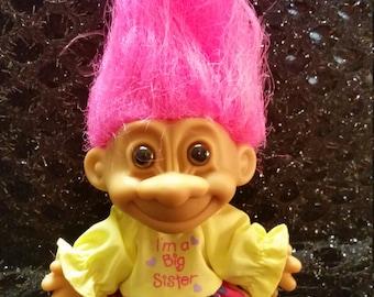 "Vintage Russ Big Sister Troll Doll 5"" height"
