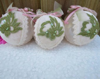 Vintage Pink and Green Christmas Ornaments, Christmas Tree Ornaments, Decorated Glass Ornament, Christmas Baubles, Christmas Home Decor