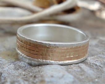 Oxidized ring Unique Wedding Band Mixed Metals Men's Wedding Band Handmade wedding ring black silver ring Gold Womens wedding Bands