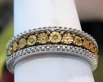 Canary Yellow Diamond Band Ring / Size 6 / Unique Engagement / Wedding Band