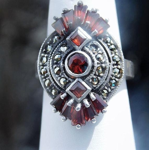 Garnet Ring / Marcasite /  Art Deco Revival / Sterling Silver / January Birthstone