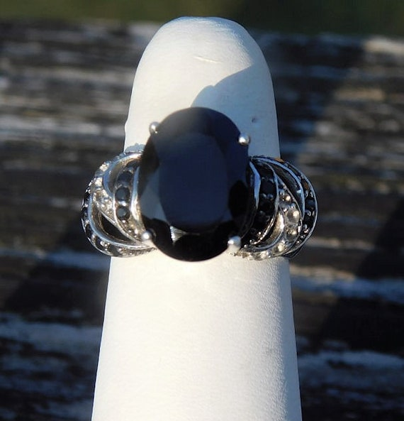 Thai Black Spinel Ring / Oval Faceted Gemstone / Unique Engagement / Size 6 / August Birthstone