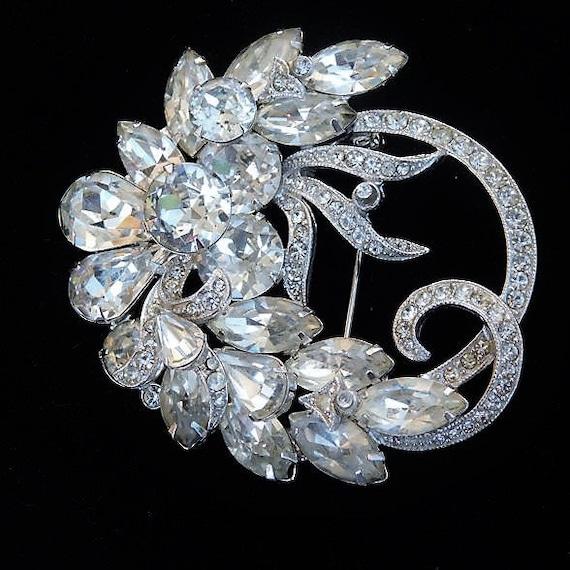 EISENBERG ICE Rhinestone Brooch / Art Deco / Wedding Jewelry
