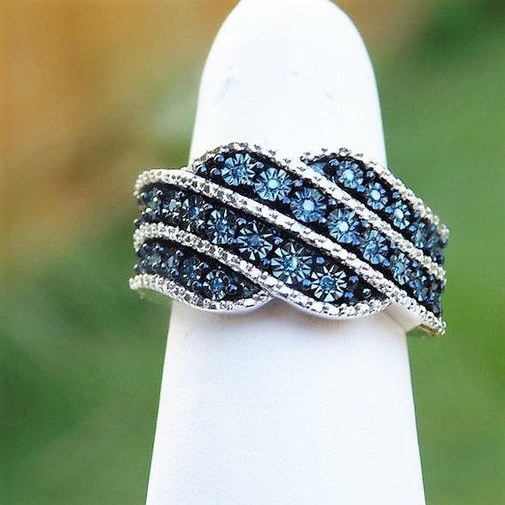 Blue Diamond Band Ring / Size 6 / Unique Engagement / Wedding Band