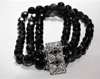 French Jet Black Glass Bracelet / Mid Century Bracelet / Black Bracelet