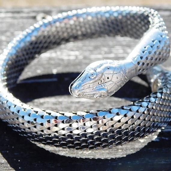 Whiting Davis Snake Bracelet / Mesh Coil Serpent / Cleopatra / 1960s Cuff / Egyptian Revival