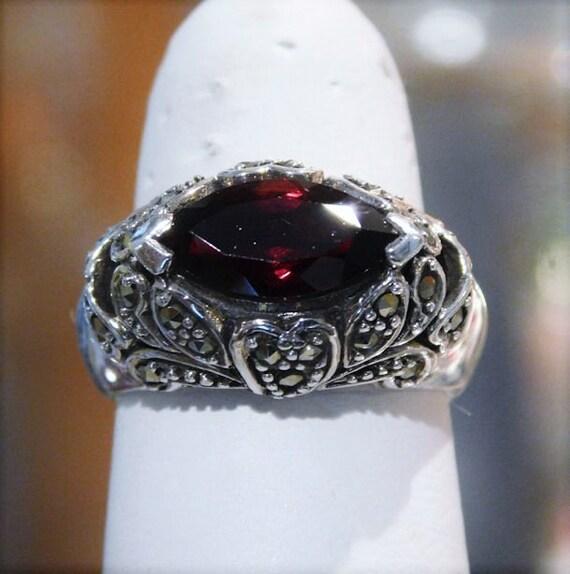 Garnet Ring / Marcasite / Sterling Silver