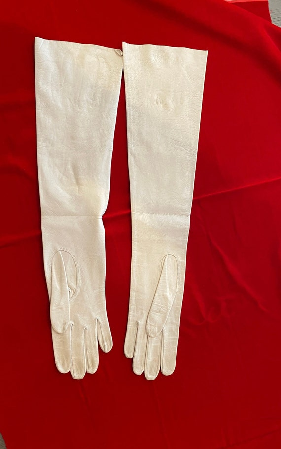 Long white leather gloves