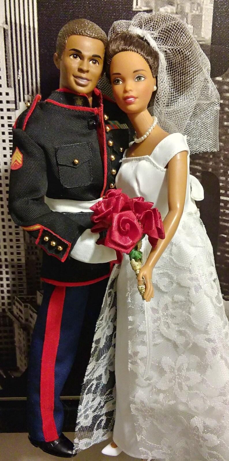 57bb825dd5f9 African American Barbie Royal Wedding Marine Corps Ken   Etsy