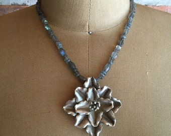 Rose dreams: sterling silver Rose pendant from a faceted labradorite necklace