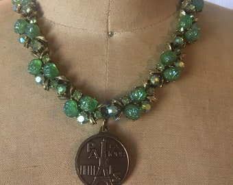 Springtime in Paris: a vintage assembage necklace, repurposed jewelry, vintage jewelry