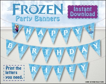 FROZEN personalized birthday party banner! Print ANY name and age. Best value Frozen Elsa, Anna and Olaf flags/pennants/bunting
