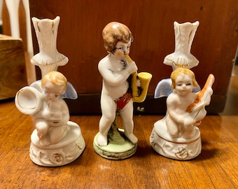 Three Small Antique Japan Porcelain Musical Instrument Figures