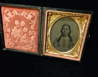 Antique 1/9th Plate Ambrotype Photograph Young Girl