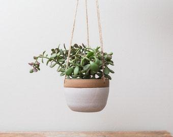 Ceramic Hanging Planter    Matte White Planter, Succulent Planter, Cactus Planter, Pottery, Wheel Thrown, Boho Decor