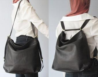 Convertible backpack, leather shoulder bag, black bag, crossbody purse, double use