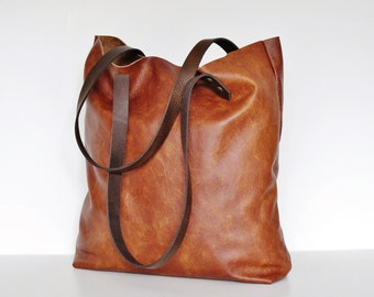 8626b08b07d35 Cognac Leder-Tote-Tasche Tasche-Käufer