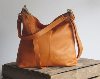 Tan leather shoulder bag, small slouchy purse, everyday bag