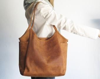Leather tote bag woman, camel shoulder bag, leather purse