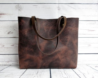 Distressed brown leather tote, real leather, tote bag, leather purse, leather tote, leather shopper, vintage look purse