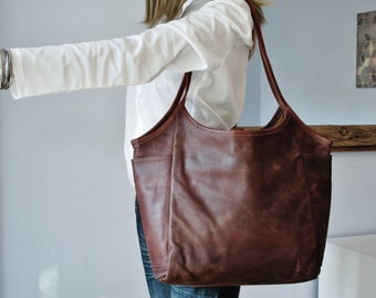 Brown leather bag, shoulder bag leather, leather tote with pockets, leather purse woman, distressed leather bag