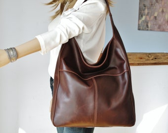 7fba61daab Brown leather hobo bag